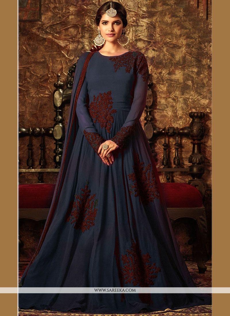 5188f63f7b Buy Online Superb Grey Floor Length Anarkali Suit : 59536 - Salwar Kameez