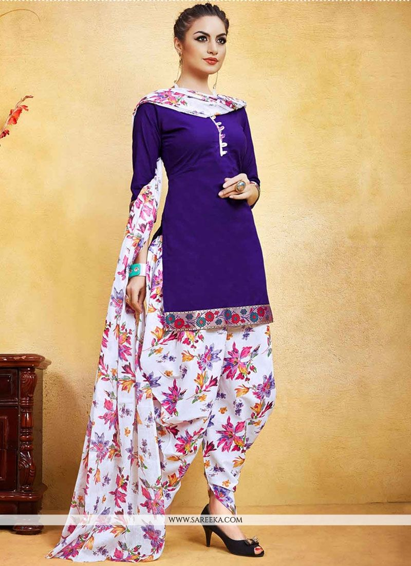 83beac6079 Buy Fancy Fabric Print Work Punjabi Suit Online : Indian Ethnic Wear -