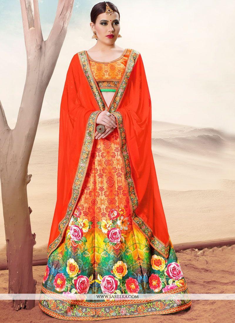Multi Colour Banarasi Silk Lehenga Choli