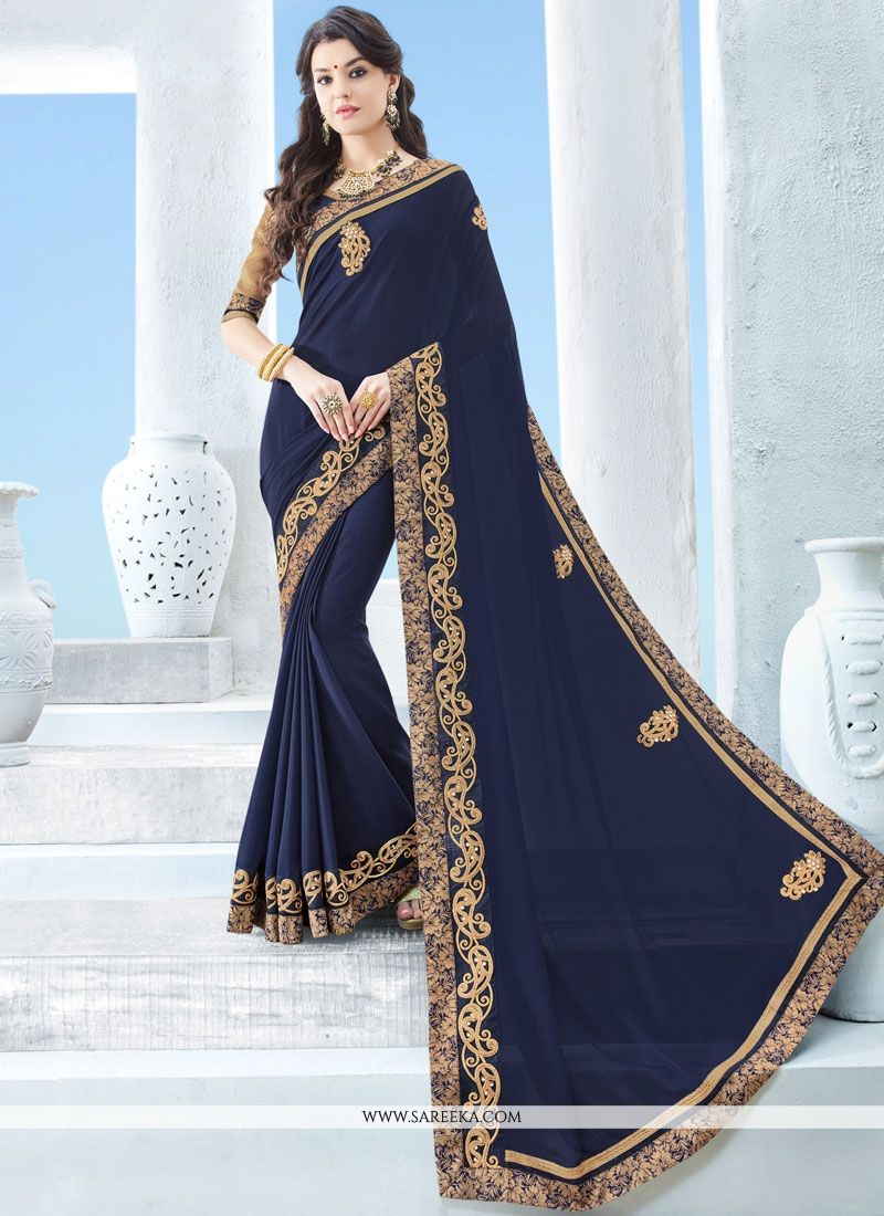 Navy Blue Patch Border Work Classic Saree
