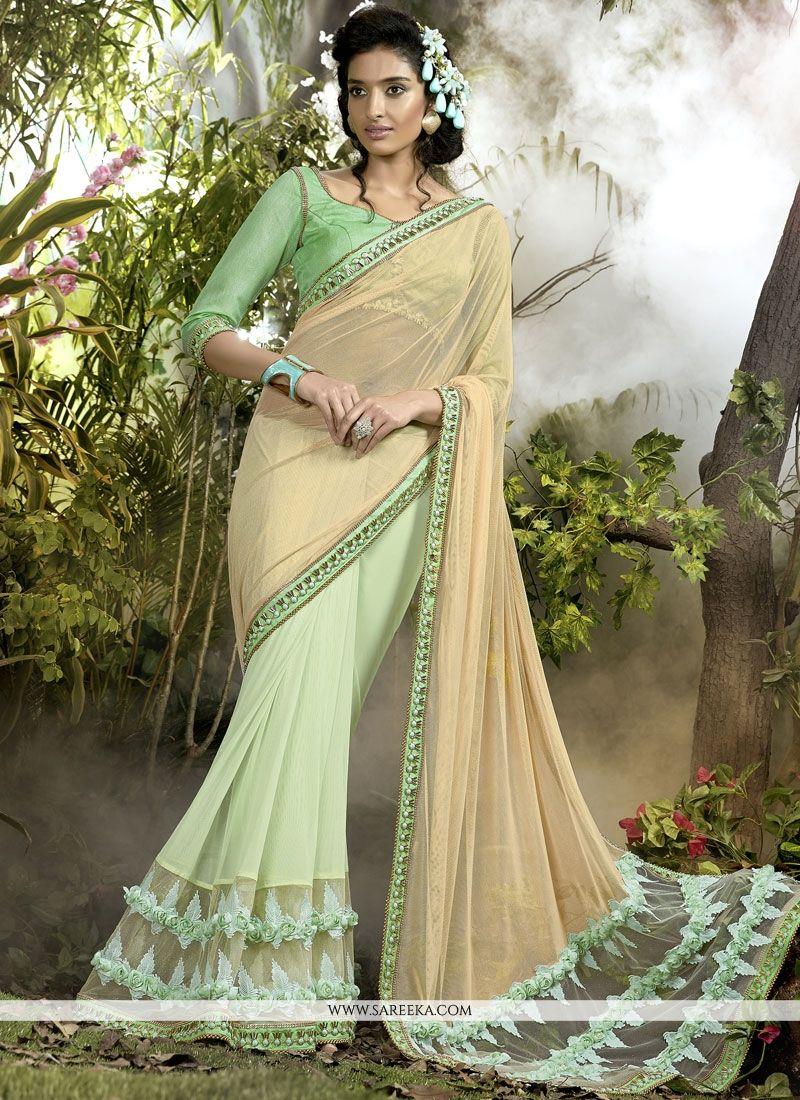Net Beige and Sea Green Lace Work Designer Half N Half Saree
