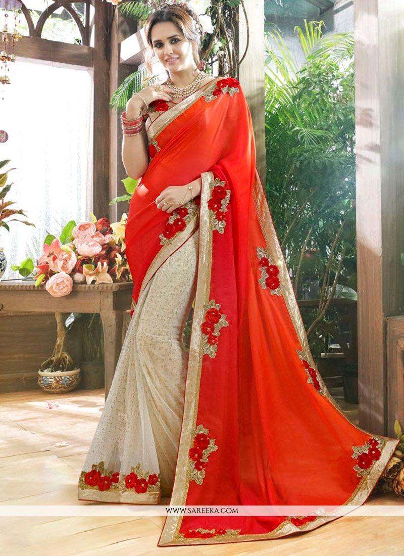 375247c82ed ... Buy Patch Border Work Brocade Designer Half N Half saree Online at
