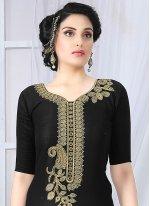 Cotton   Black Embroidered Work Churidar Suit