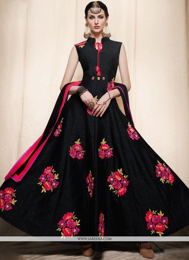 Resham Work Black Art Silk Readymade Anarkali Suit