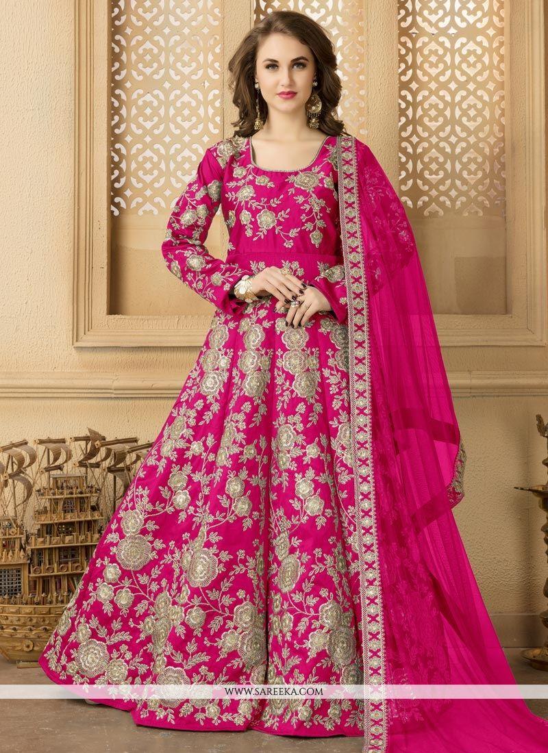 Tafeta silk Embroidered Work Floor Length Anarkali Suit