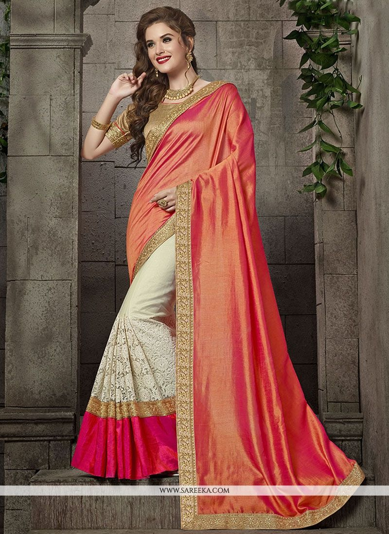 d85560cdae Buy Art Silk Off White and Peach Embroidered Work Designer Traditional  Saree Online : Fiji -