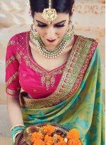 Art Silk Patch Border Work Designer Traditional Saree