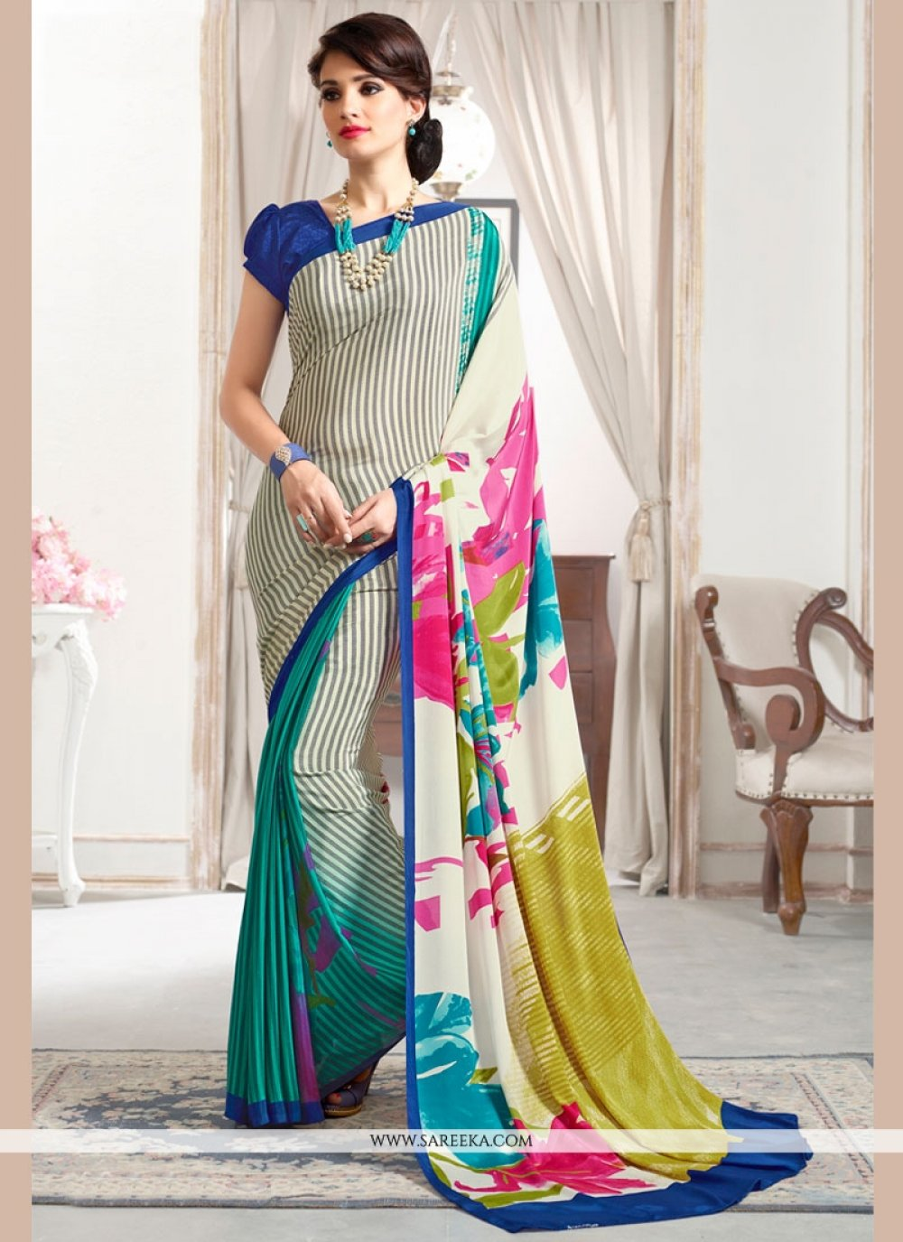 Faux Crepe Multi Colour Abstract Print Work Printed Saree