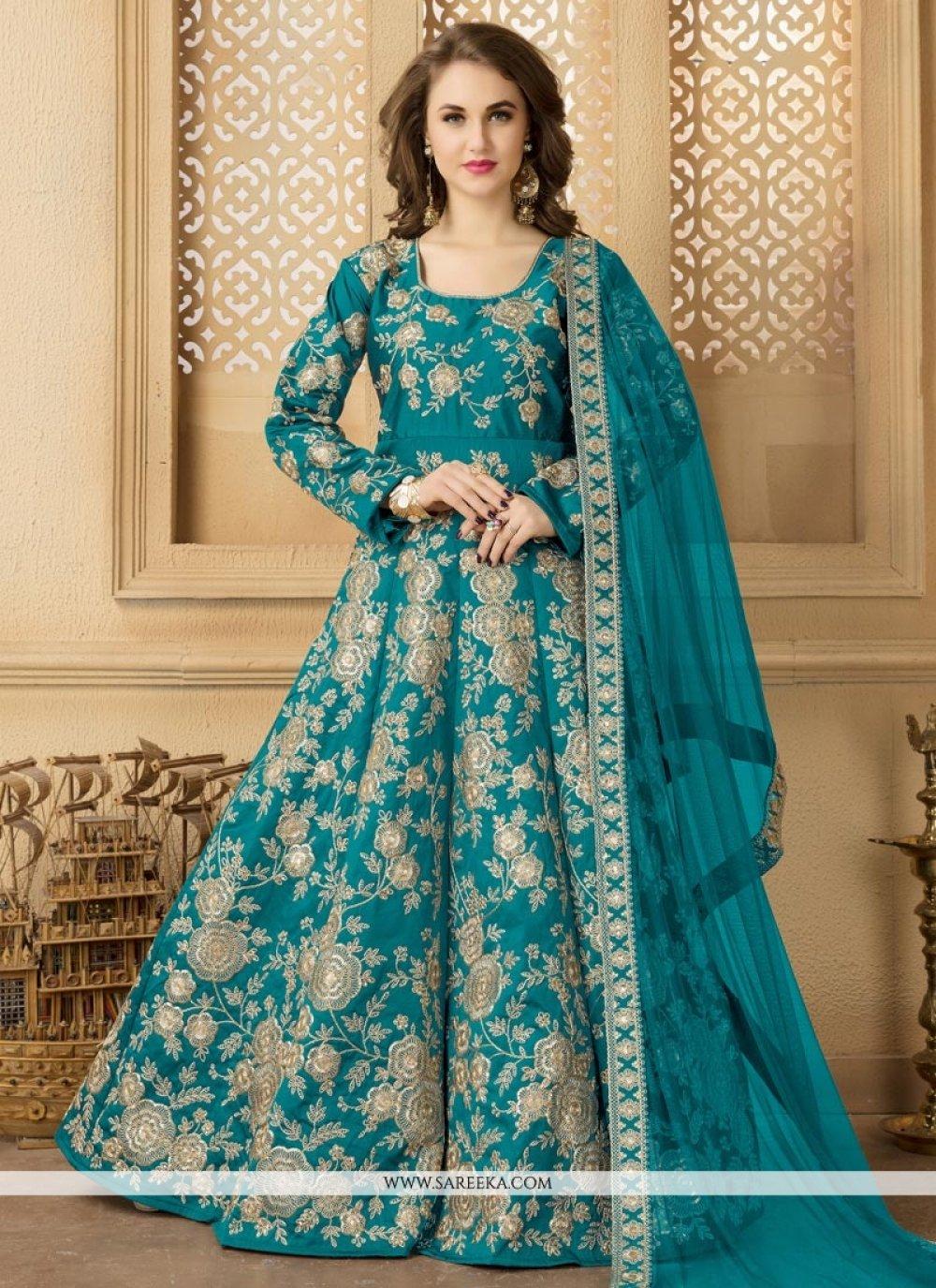 Teal Tafeta silk Floor Length Anarkali Suit