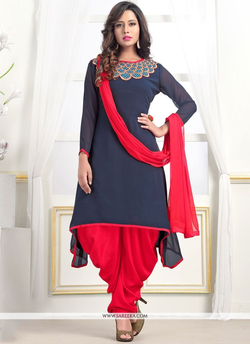 b353d56f15 Buy Tempting Embroidered Work Navy Blue Readymade Suit Online : Australia