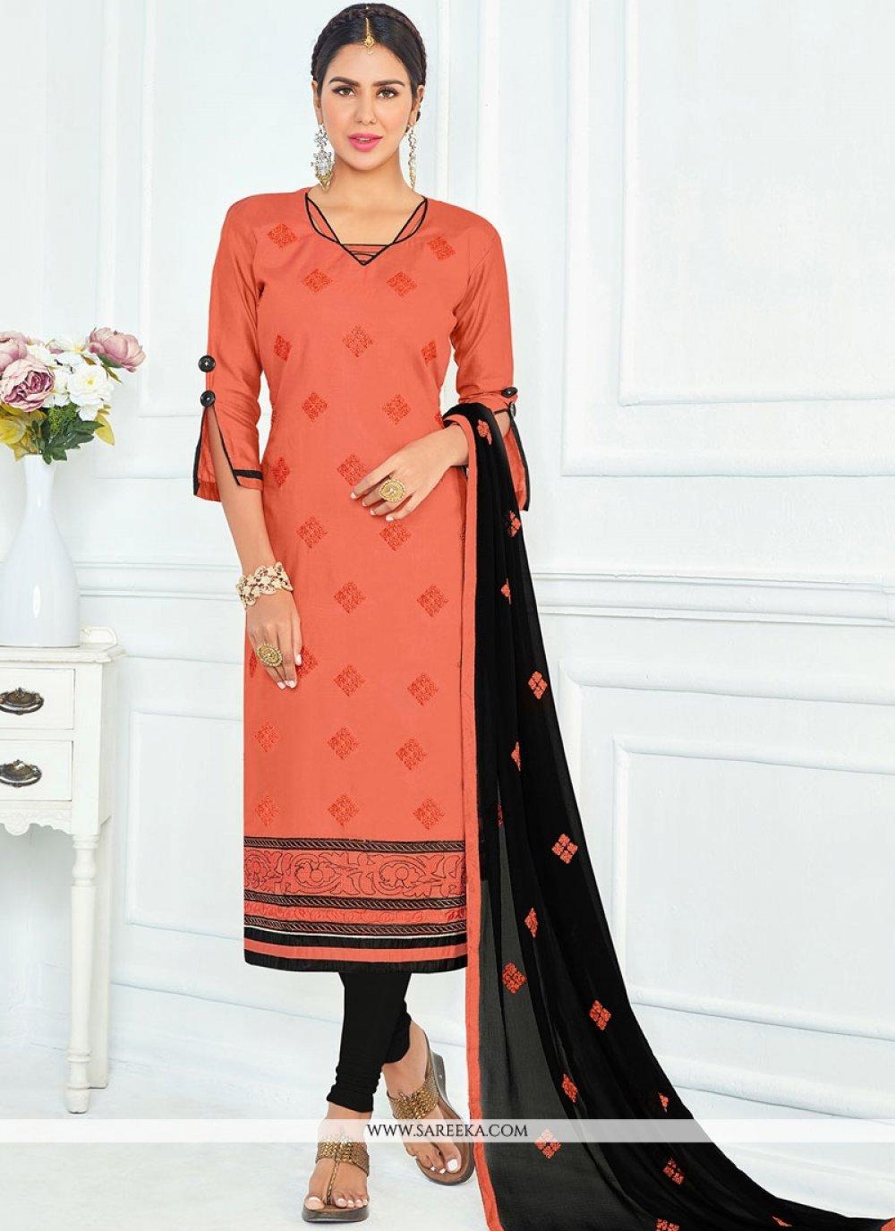 Lace Work Orange Cotton   Churidar Suit