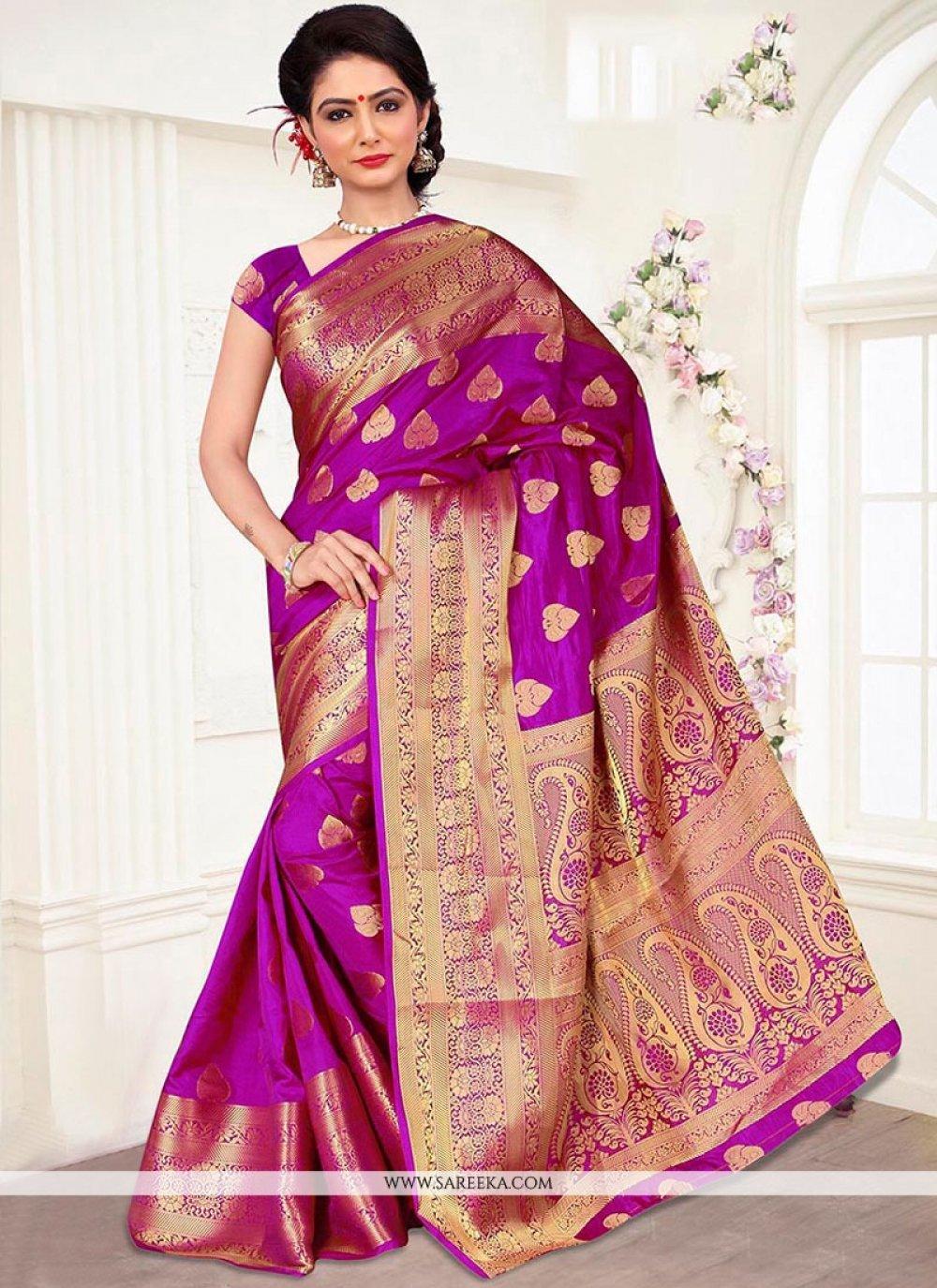 Banarasi Silk Magenta Traditional  Saree