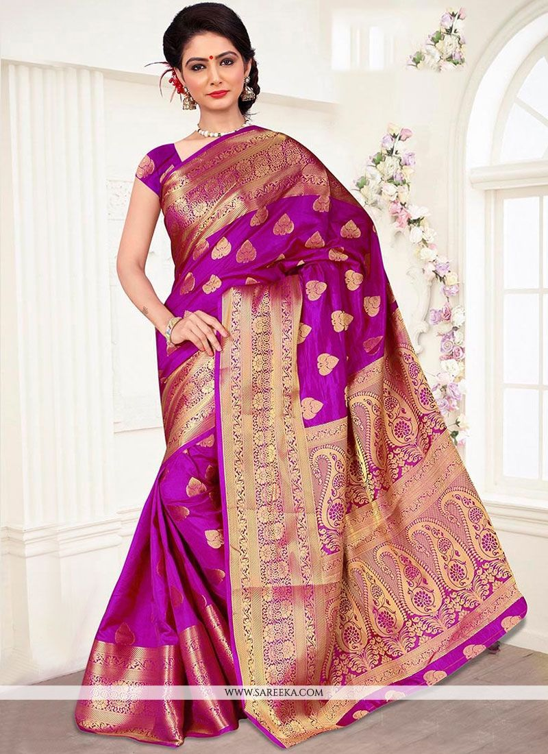 Banarasi Silk Magenta Traditional  Saree