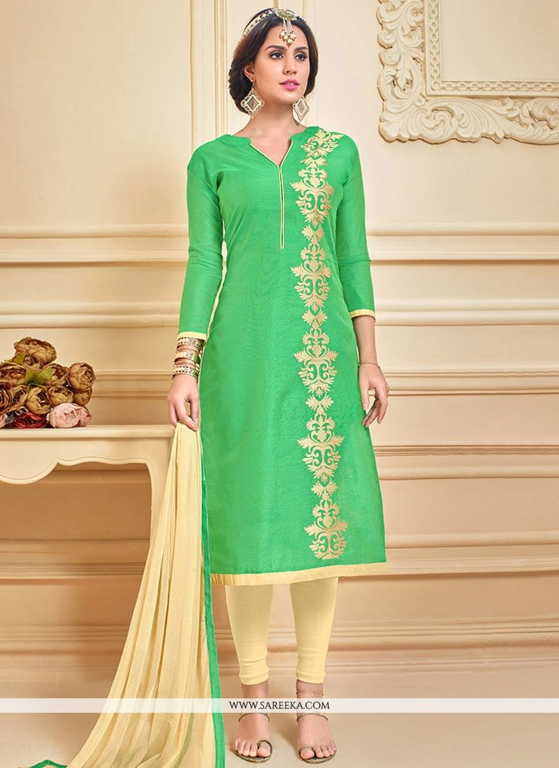 Chanderi Cotton Green Embroidered Work Churidar Suit