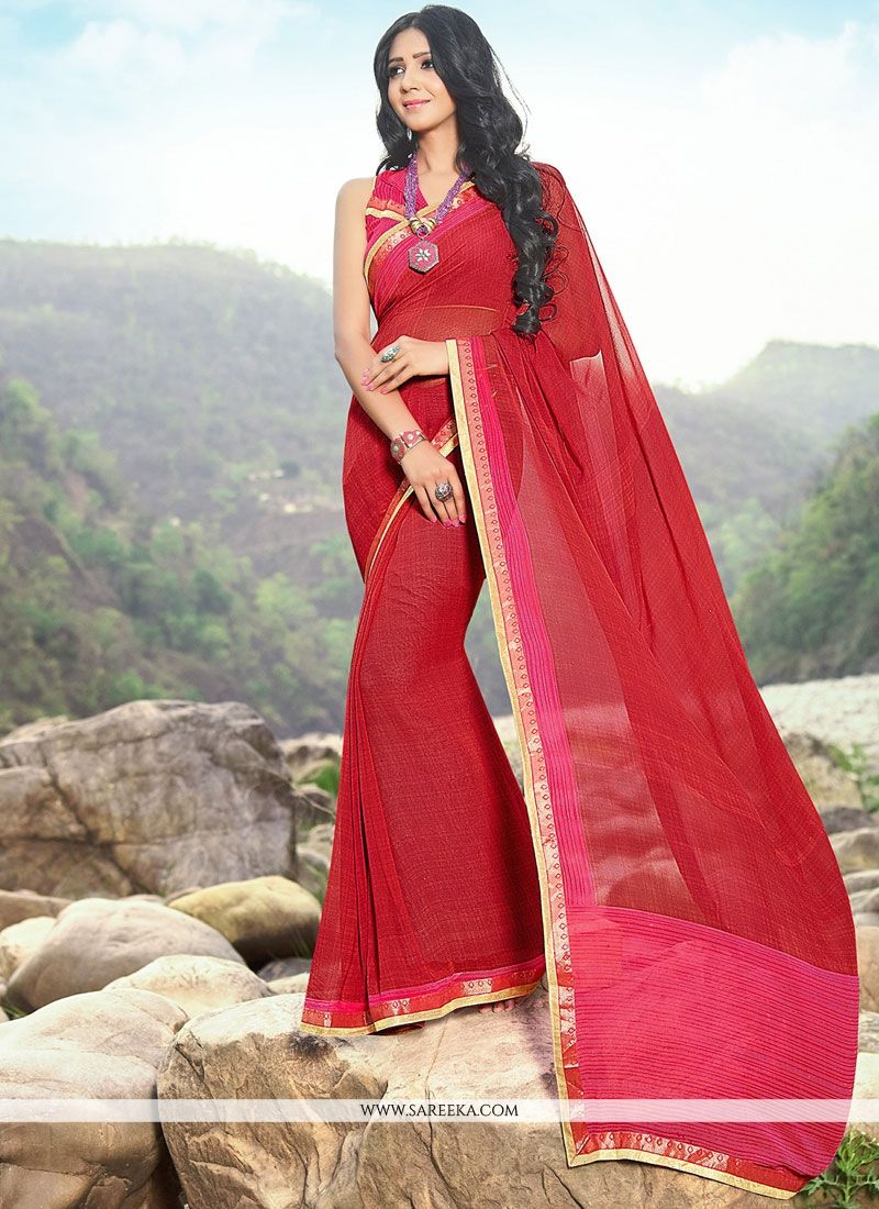 Faux Georgette Red Lace Work Classic Saree