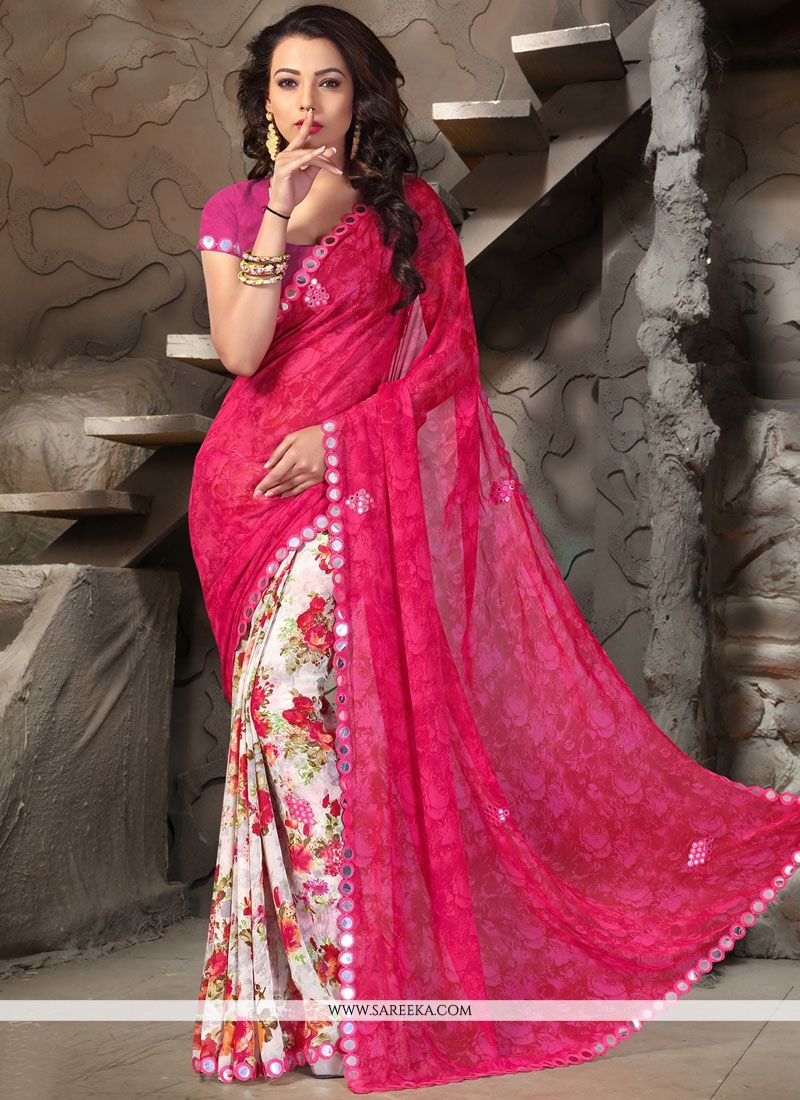 Print Work Hot Pink and Off White Printed Saree