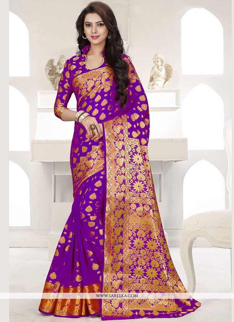 Banarasi Silk Purple Weaving Work Designer Traditional Saree
