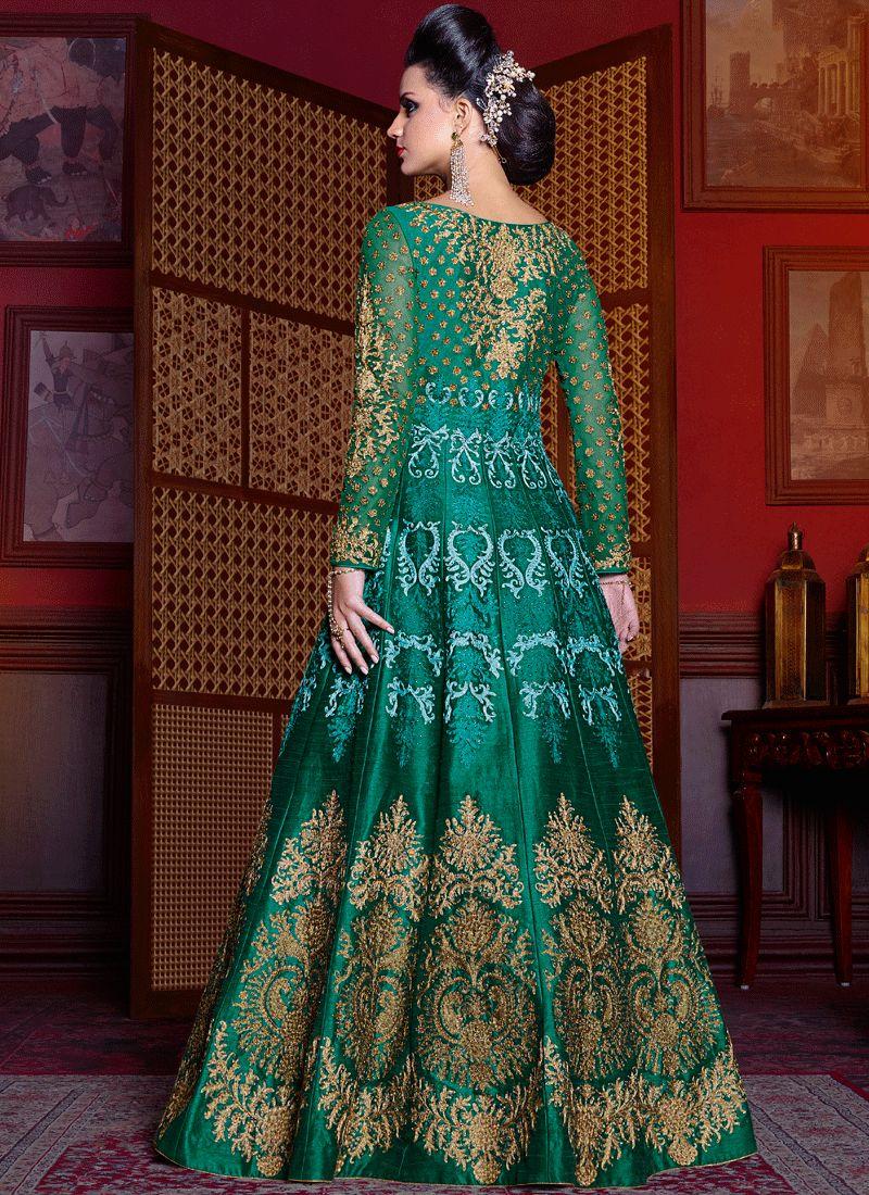 Buy diamond work green art silk floor length anarkali suit for Floor length anarkalis