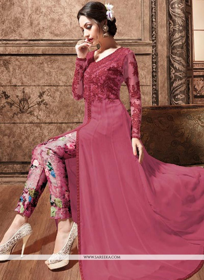 Embroidered Work Faux Georgette Hot Pink Pant Style Suit