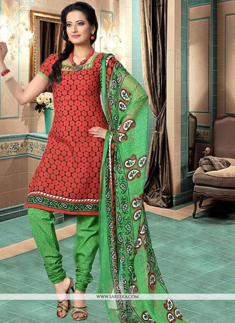Green and Red Print Work Cotton   Churidar Suit