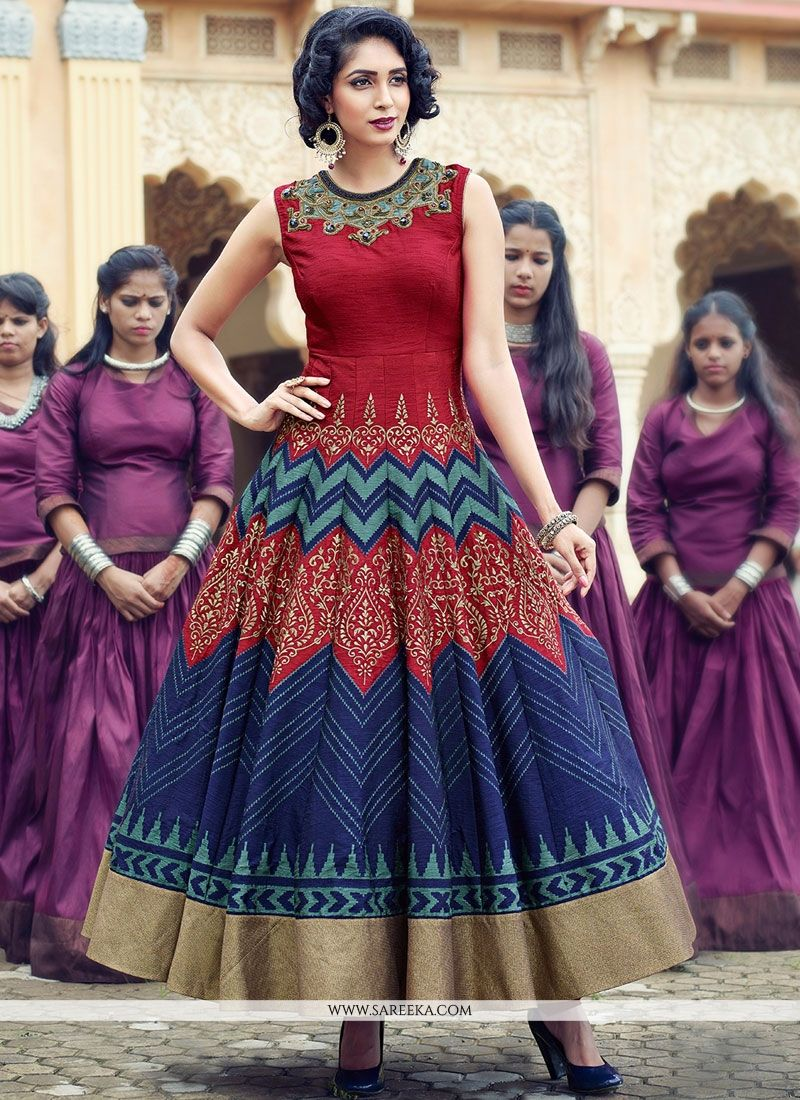 Banglori Silk Patch Border Work Anarkali Salwar Kameez