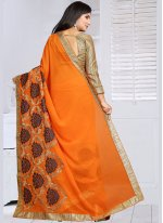 Embroidered Work Orange Classic Saree