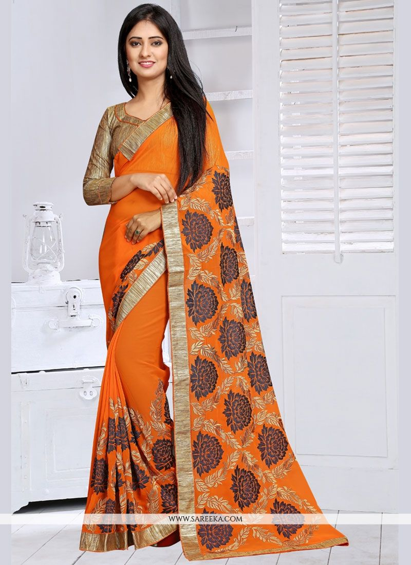Embroidered Work Orange Classic Saree