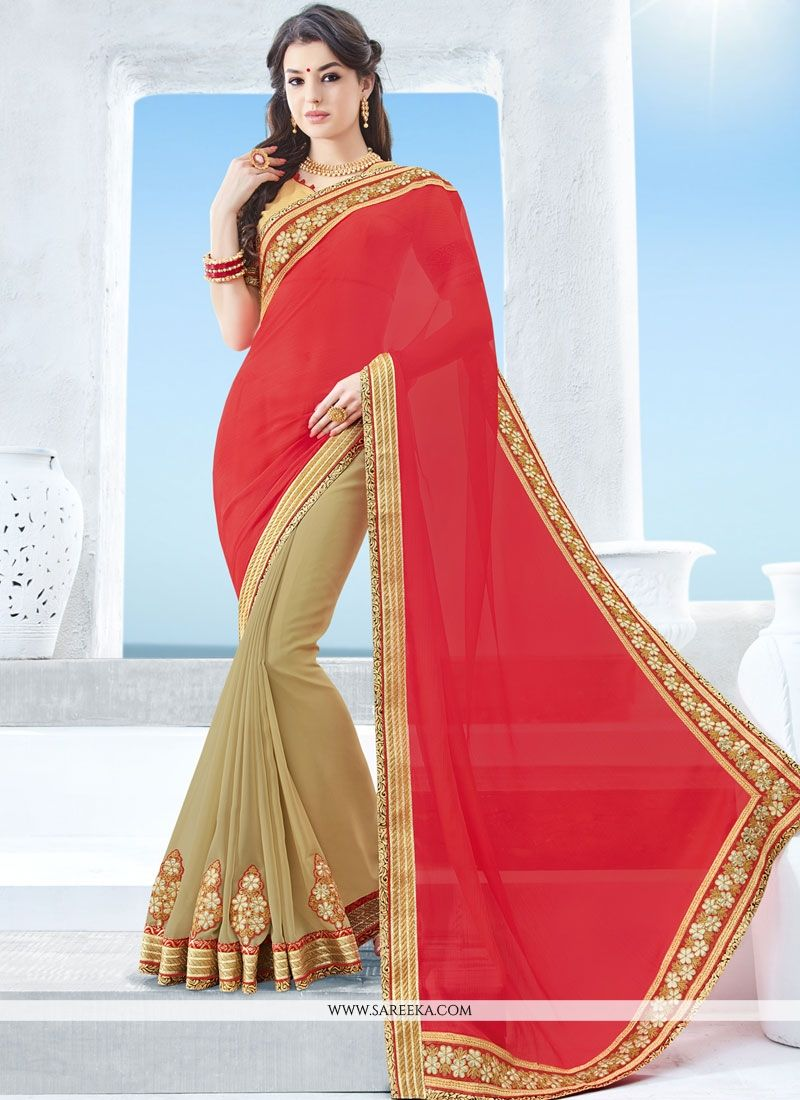 Faux Chiffon Beige and Rose Pink Embroidered Work Half N Half  Saree