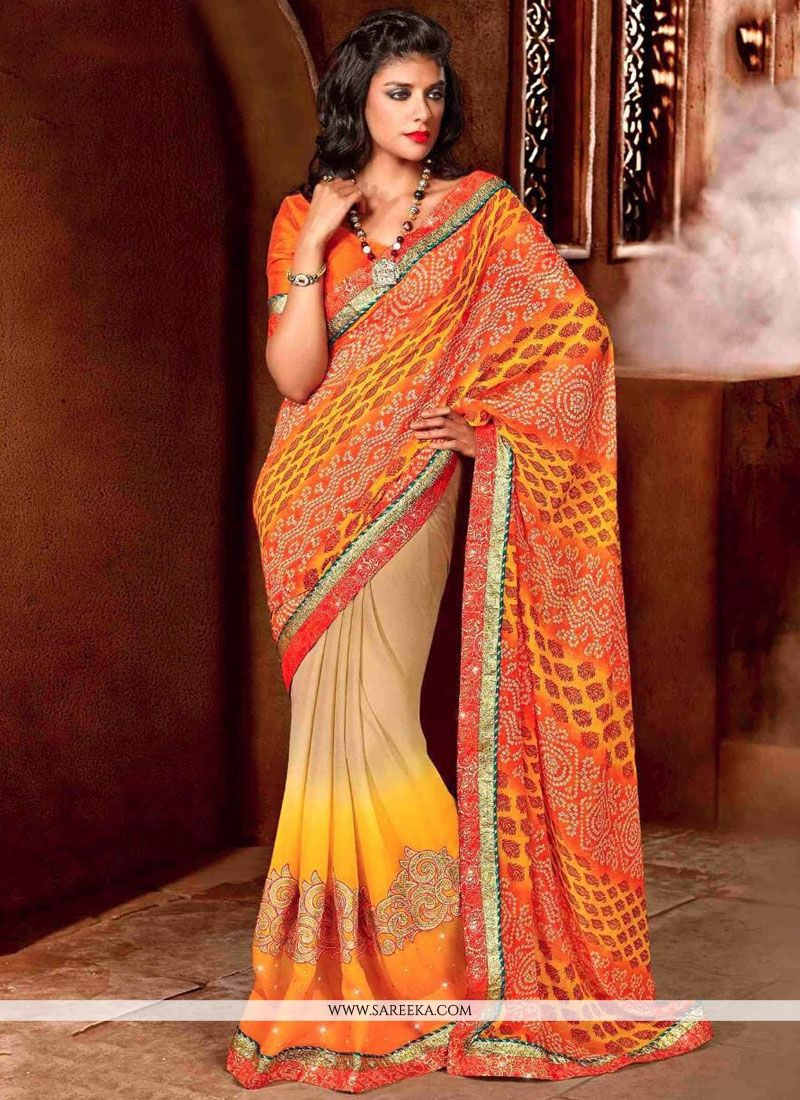 Faux Chiffon Multi Colour Classic Designer Saree