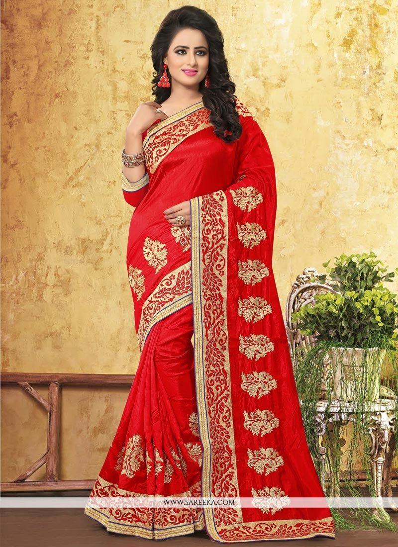 Resham Work Art Silk Traditional Designer Saree