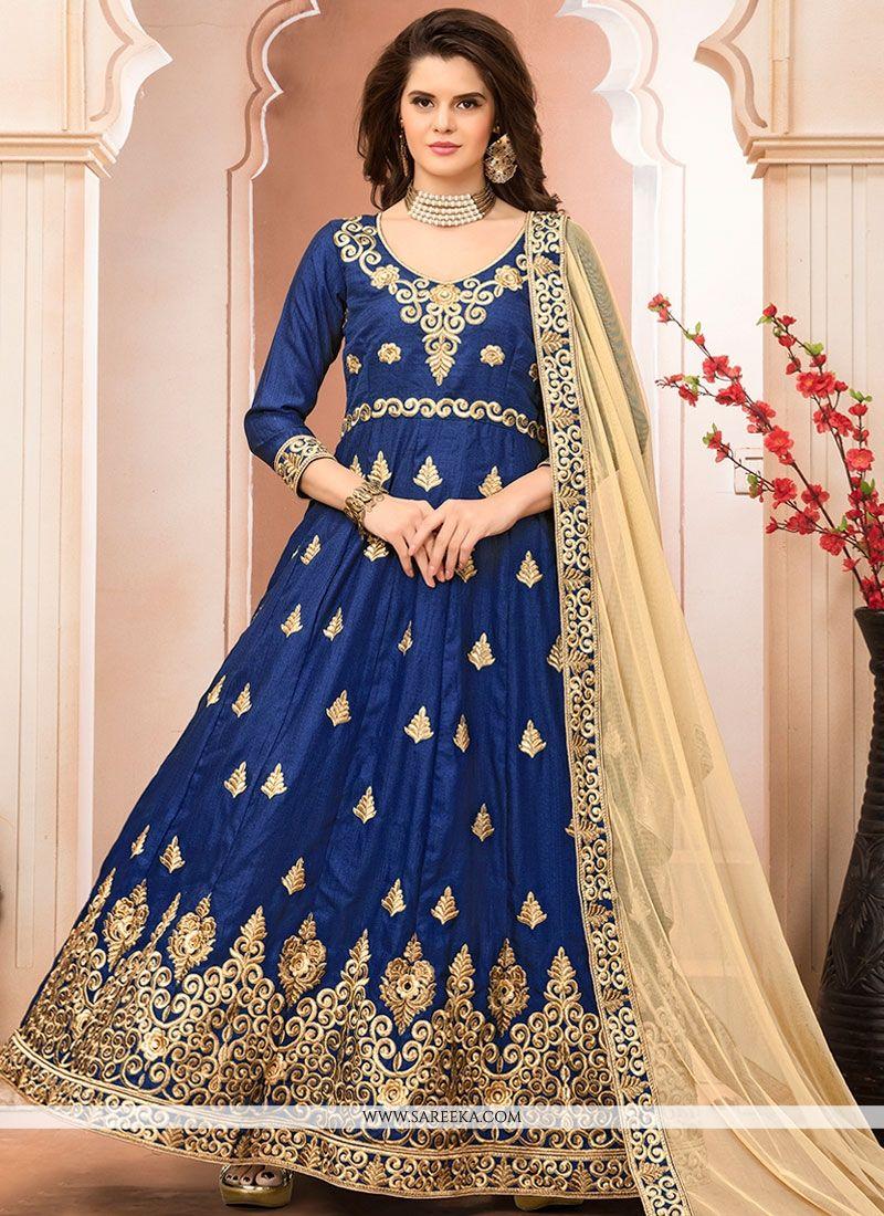 Resham Work Banglori Silk Floor Length Anarkali Suit