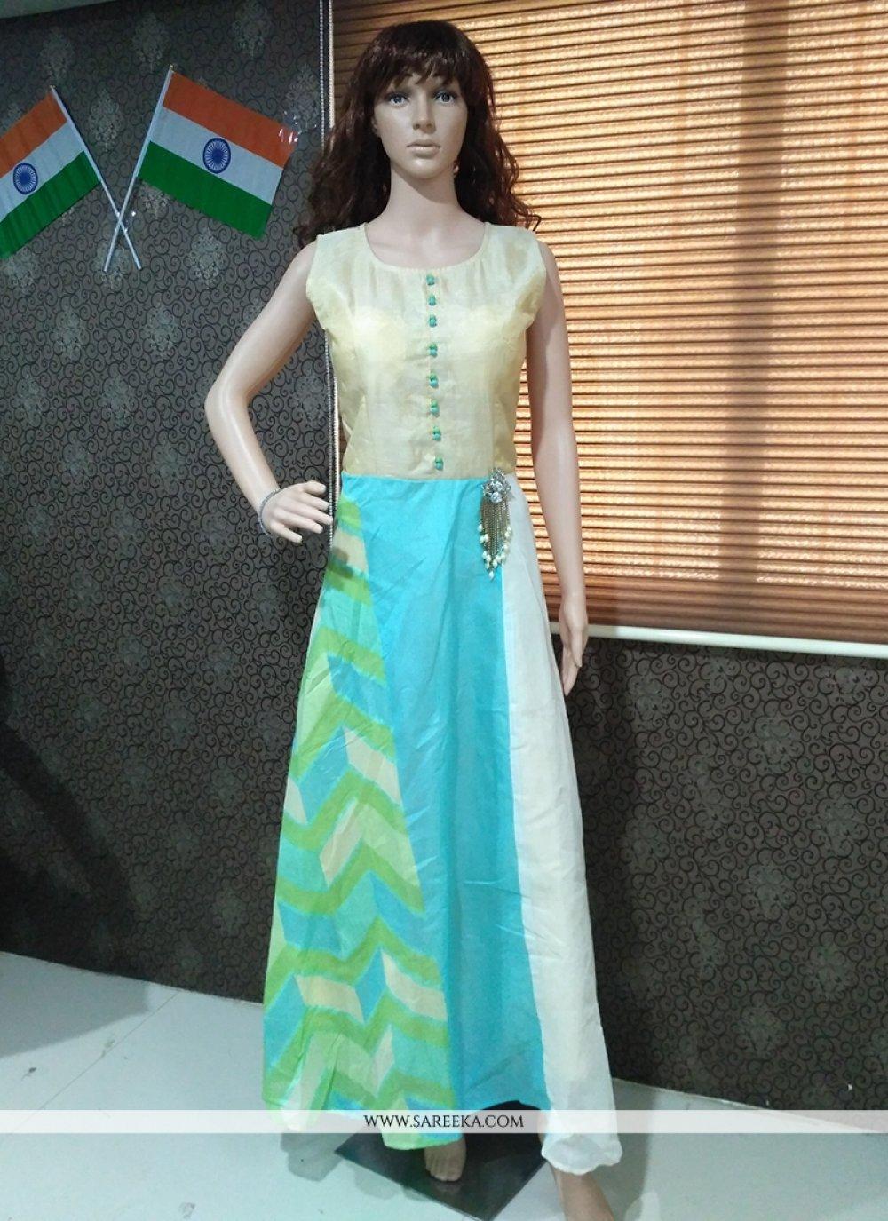 Turquoise Banarasi Silk Print Work Readymade Gown