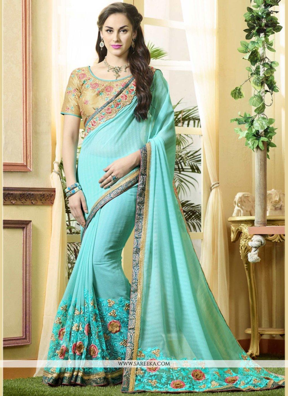 Turquoise Classic Designer Saree