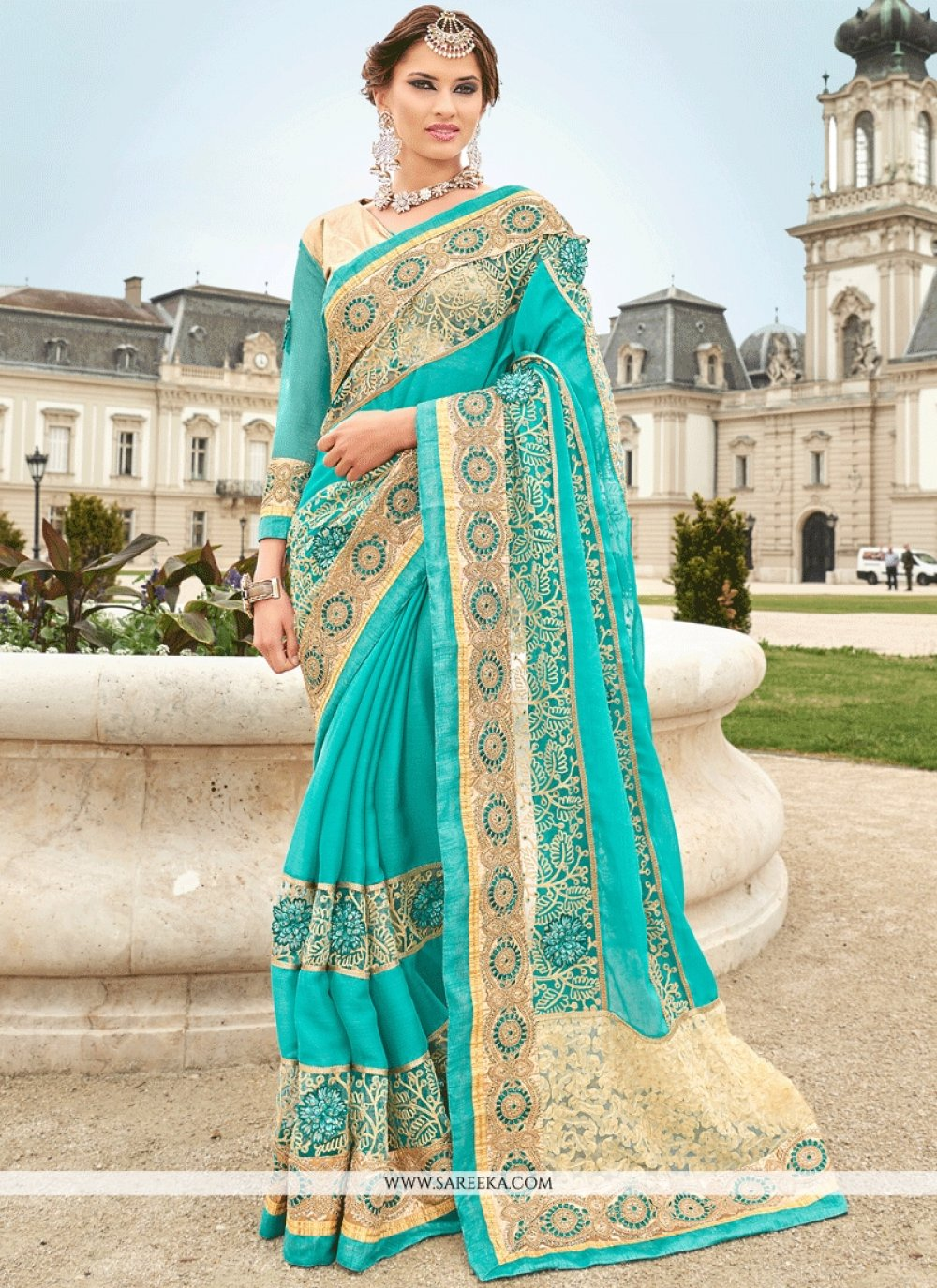 Turquoise Embroidered Work Chiffon Satin Classic Designer Saree