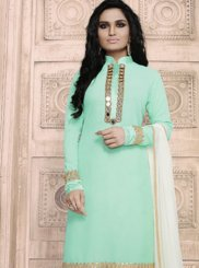 Turquoise Mirror Work Faux Georgette Pant Style Suit