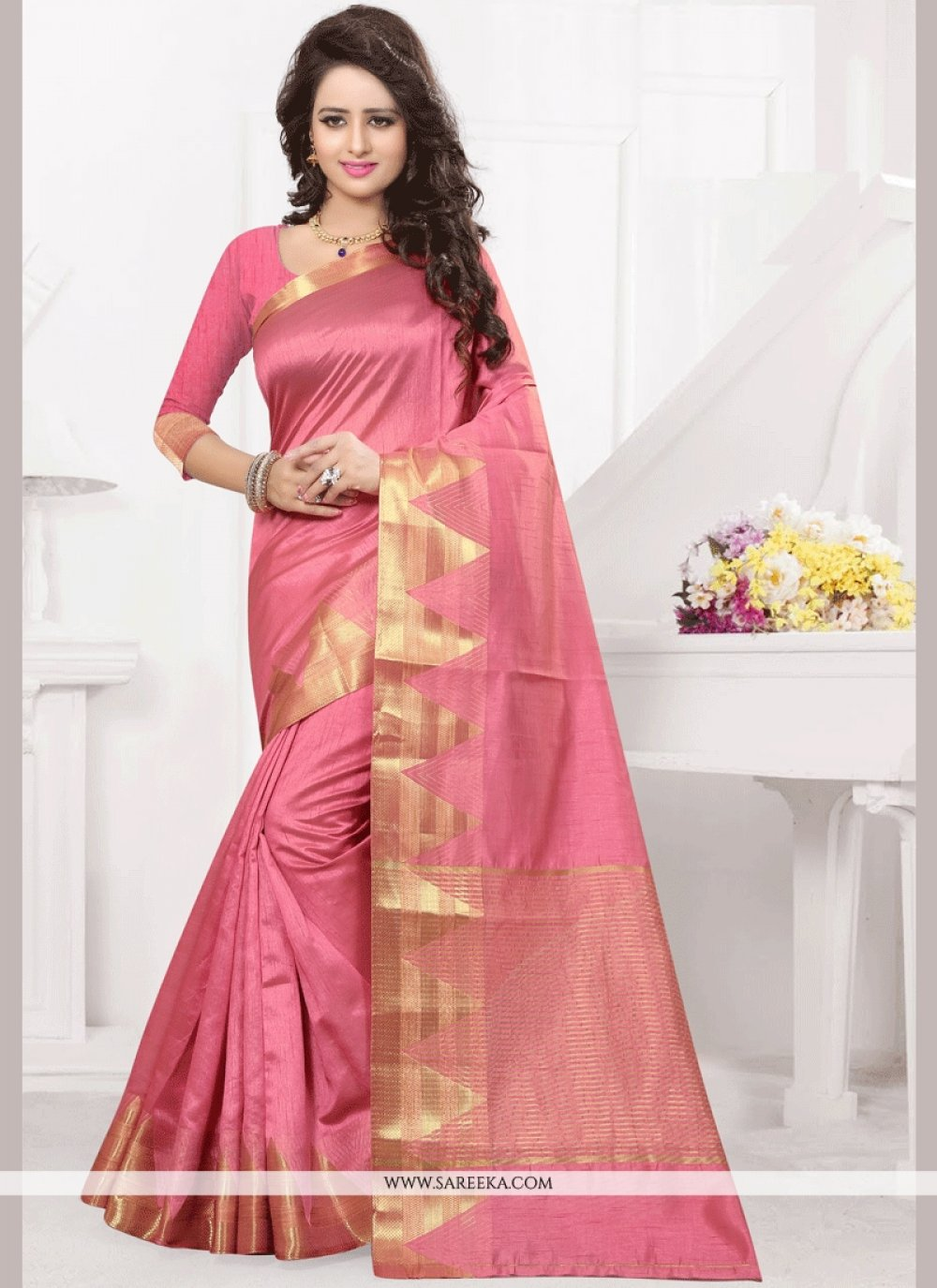 Tussar Silk Pink woven Work Traditional  Saree