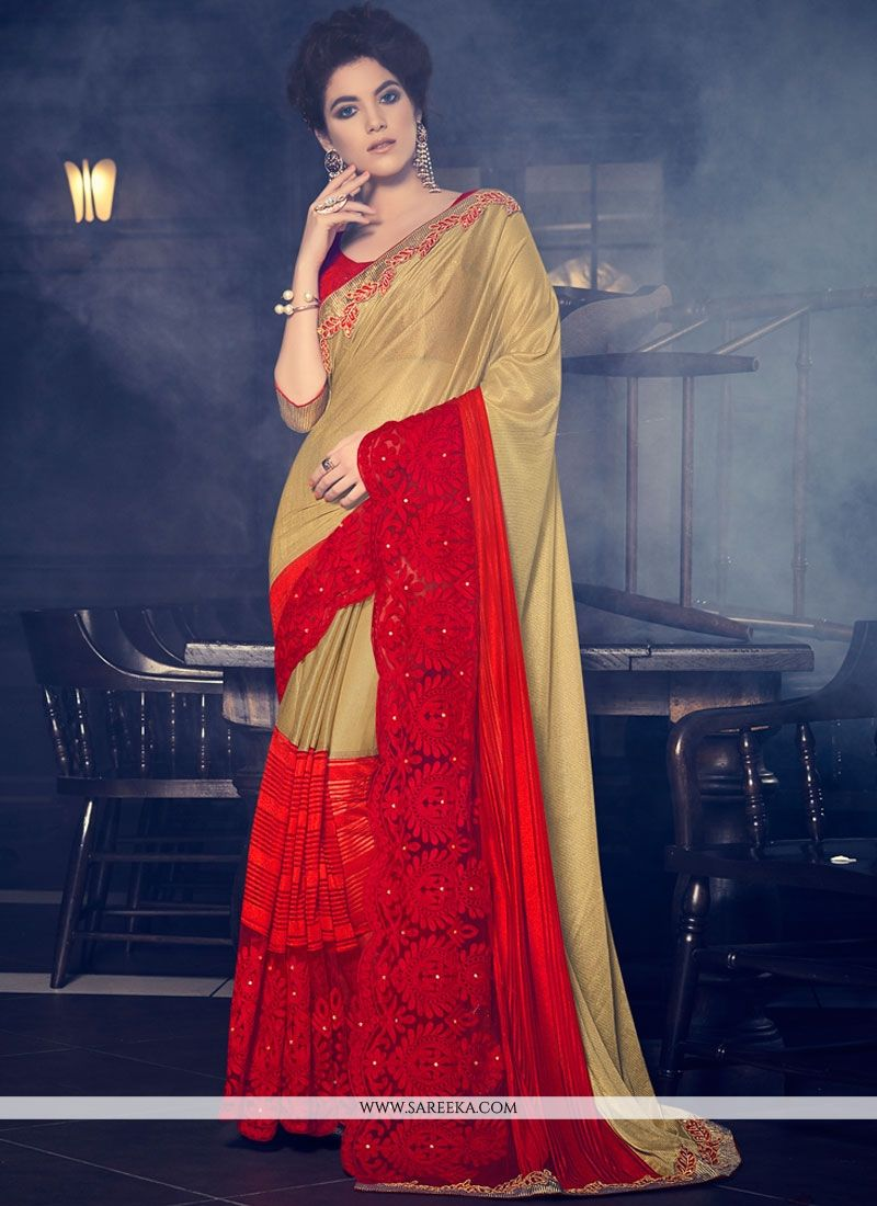 2e049abc95 Buy Fancy Fabric Beige and Red Patch Border Work Designer Saree Online : South  Africa -
