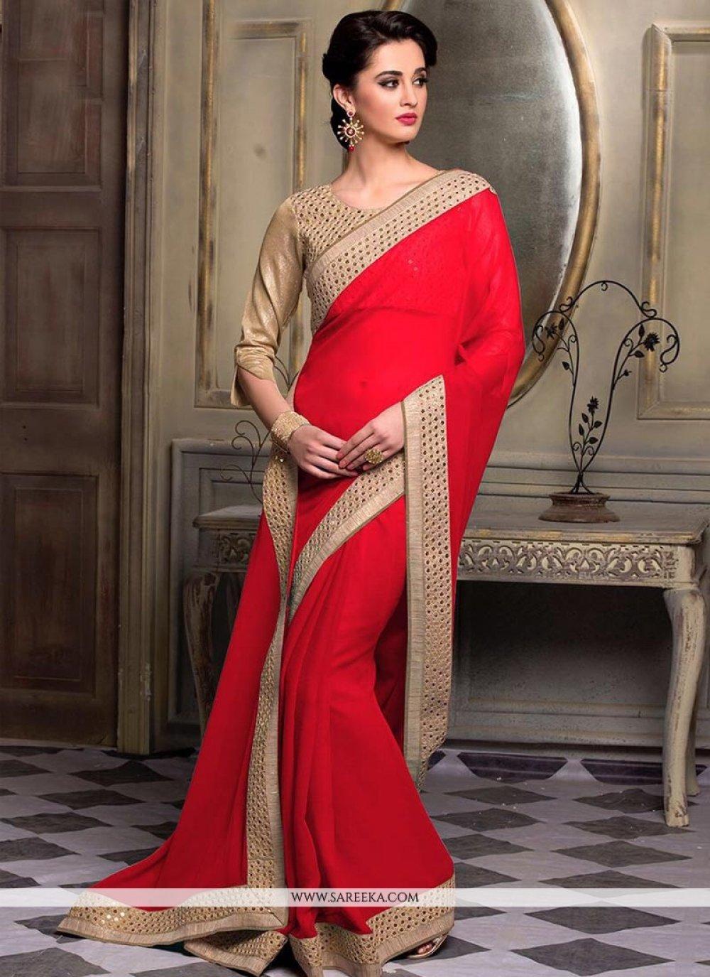 Red Resham Work Faux Chiffon Designer Saree