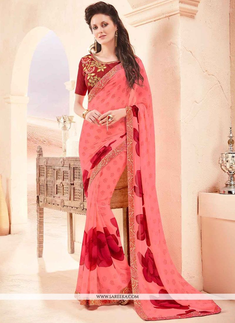 Rose Pink Print Work Faux Georgette Printed Saree
