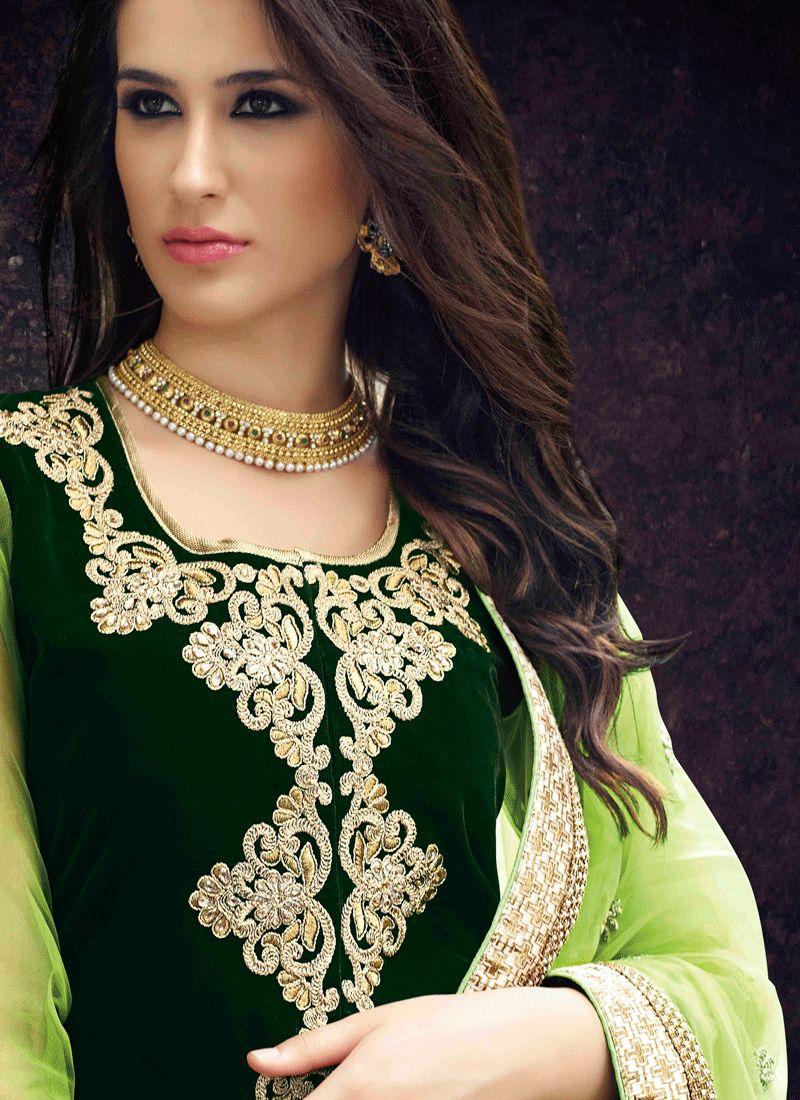751417e2db Buy Velvet Green Lace Work Long Choli Lehenga Online : 64575 -