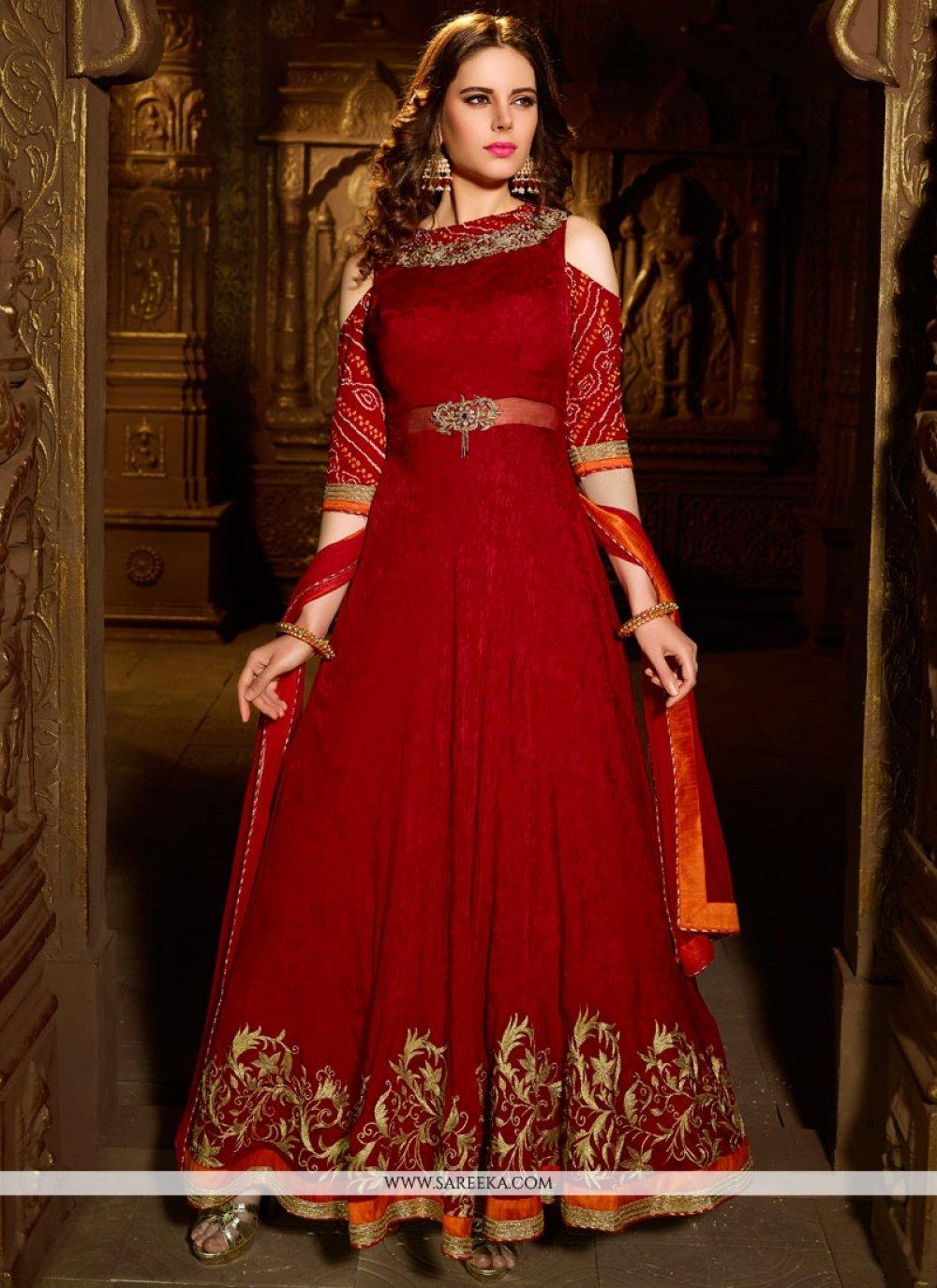 Velvet Red Cutdana Work Readymade Suit