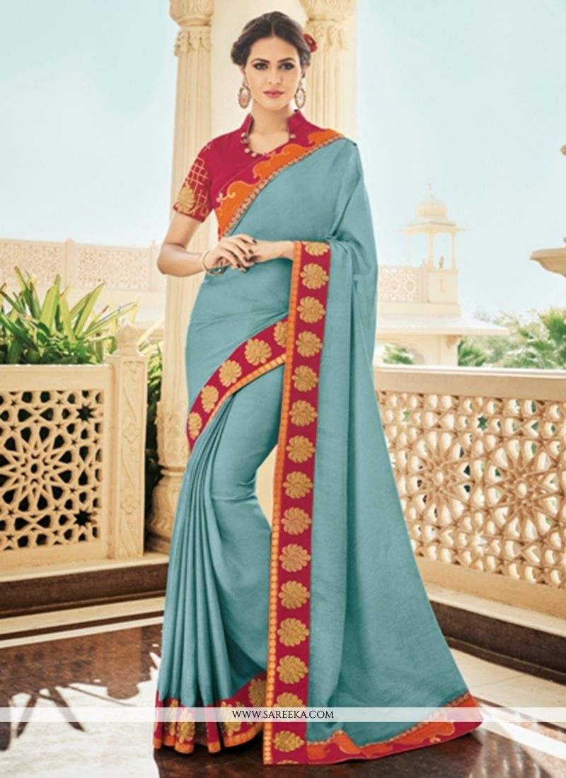 Faux Georgette Patch Border Work Designer Saree