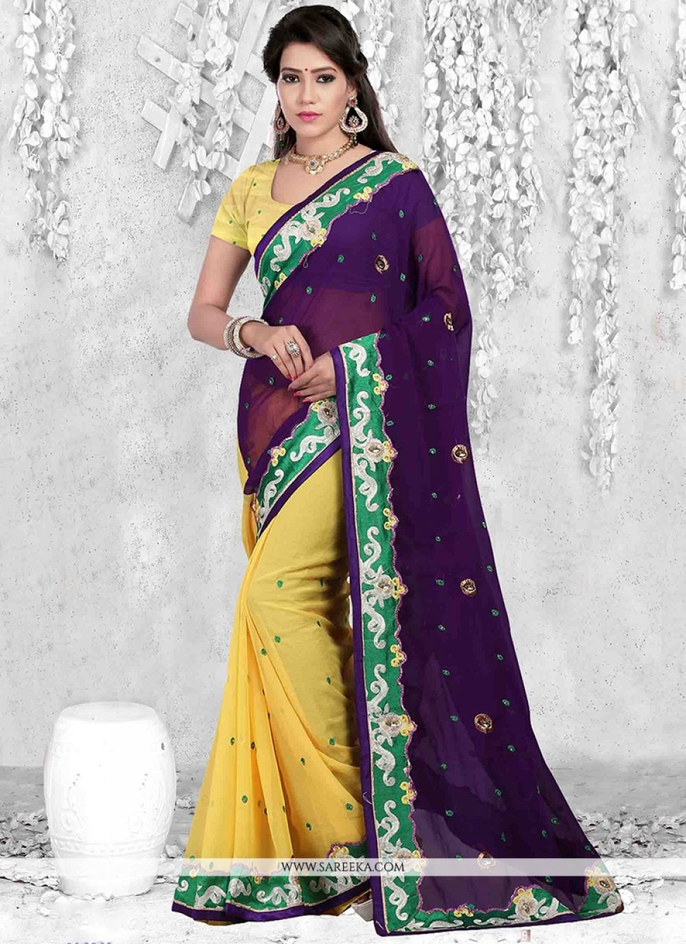 Purple and Yellow Lace Work Casual Saree