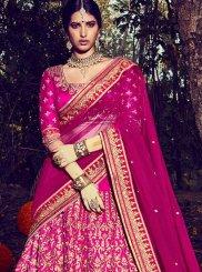 Bhagalpuri Silk Magenta Zari Work Lehenga Choli