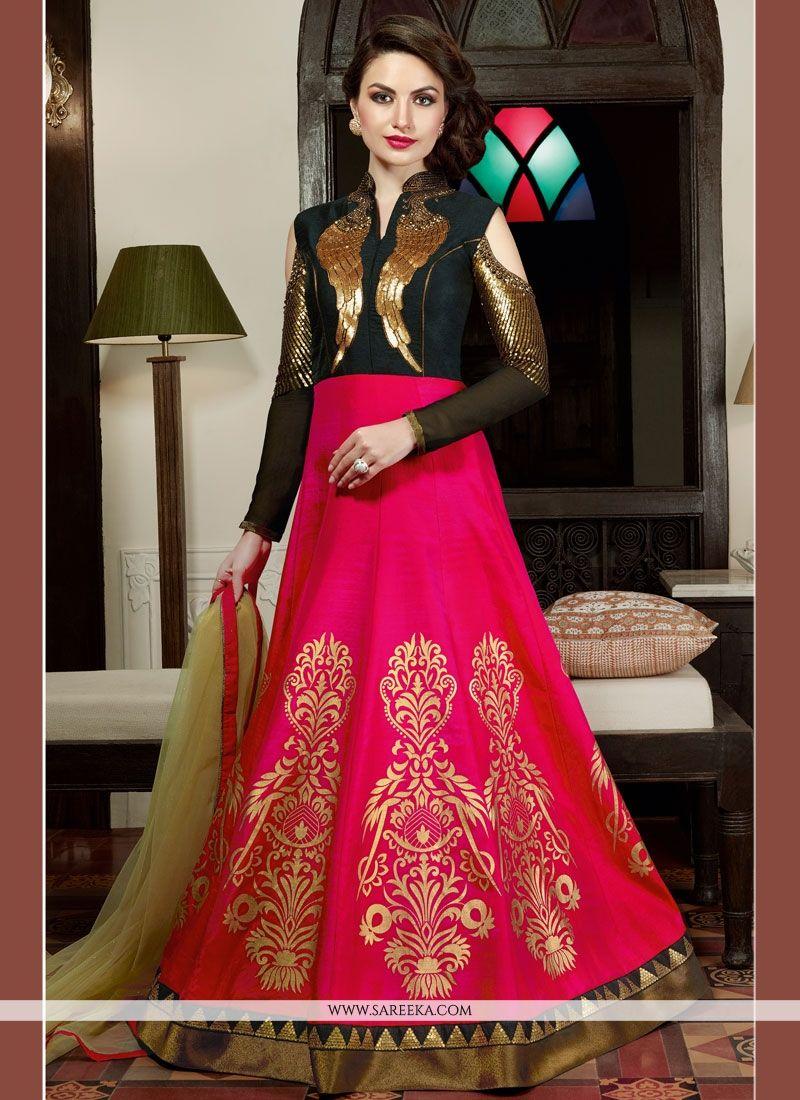 Embroidered Work Black and Magenta Art Silk Floor Length Anarkali Salwar Suit