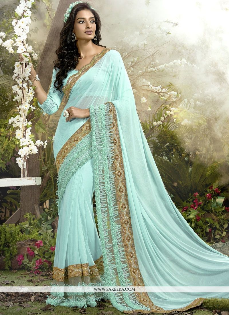 Net Turquoise Classic Saree