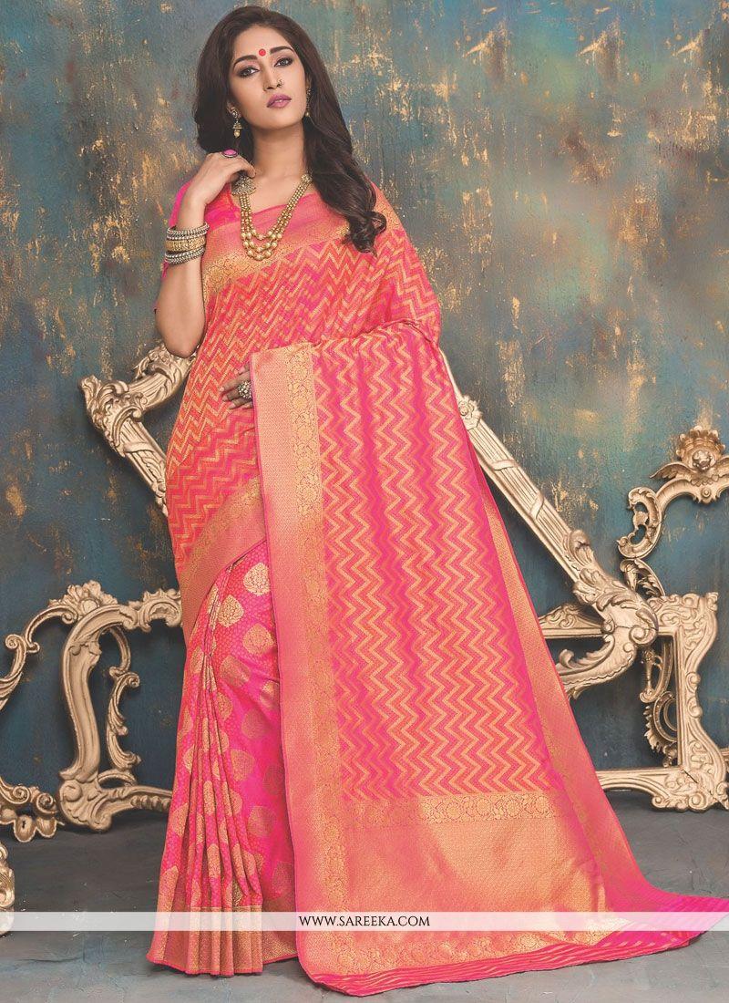 Pink Banarasi Silk Traditional Designer Saree