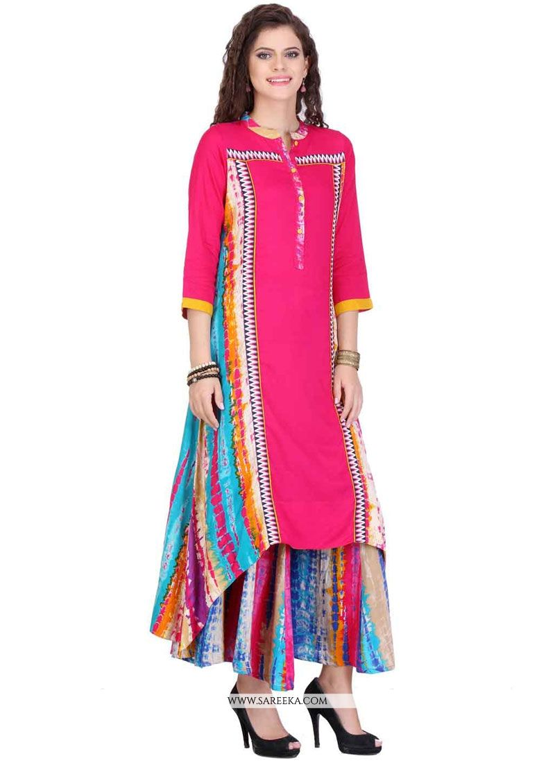 Rayon Print Work Party Wear Kurti
