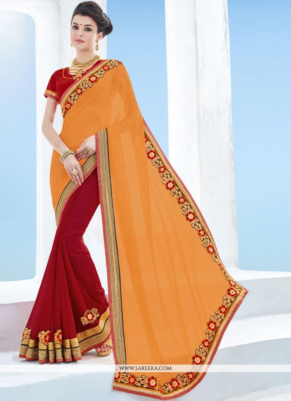 Orange and Red Designer Half N Half Saree