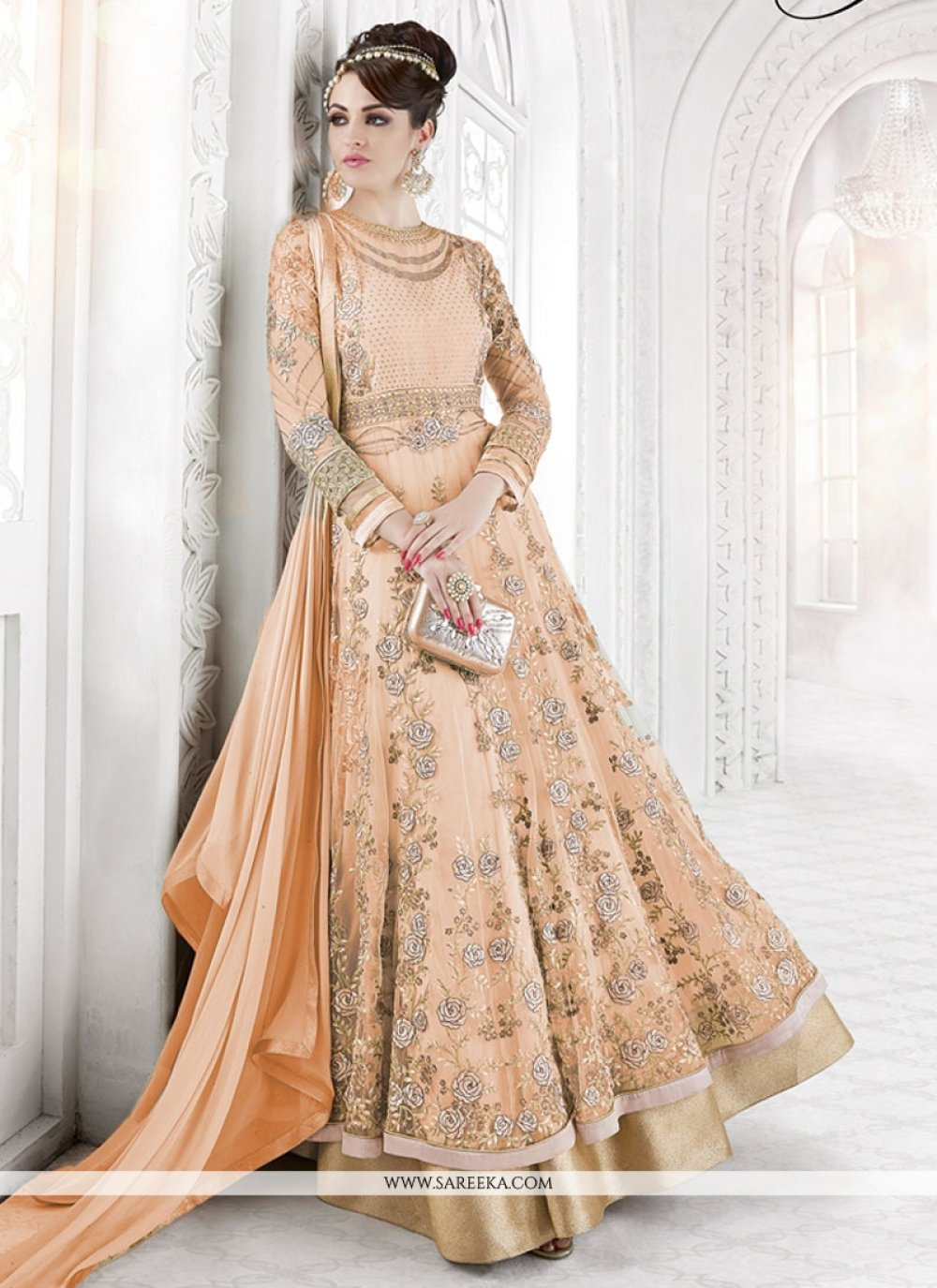 Peach Patch Border Work Floor Length Designer Suit